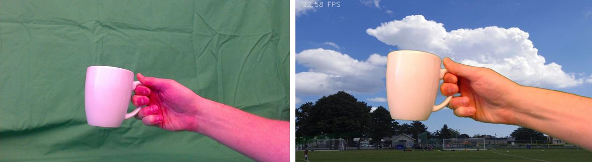 Figure 4. Before-and-after example of applying the green screen effect.