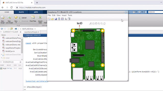 Set up a Raspberry Pi in MATLAB Online from your web browser. Remotely connect to your Raspberry Pi.