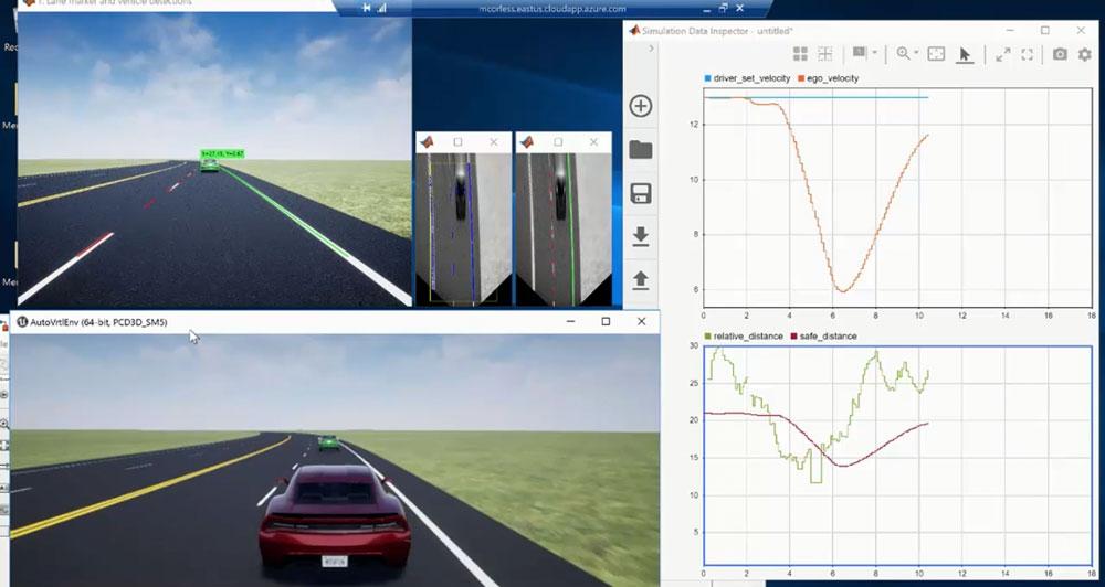 Aplicación de control de mantenimiento de carril con percepción de cámara monocular creada con MATLAB y Simulink.