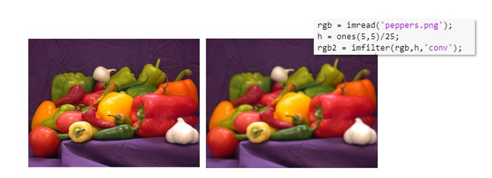 Desenfoque de imagen realizado a través de convolución con un filtro promediador.