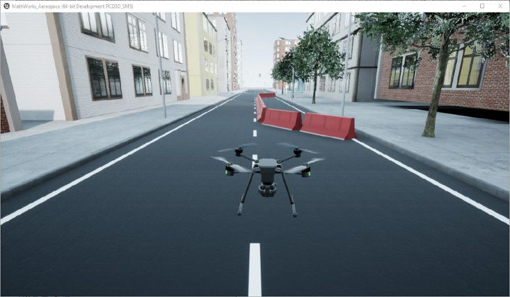 Figure 2: High-fidelity drone simulation using Simulation 3D Scene Configuration block