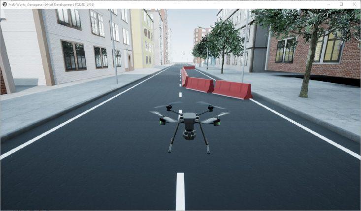 Figura 2: Simulación de drones de alta fidelidad con el bloque Simulation 3D Scene Configuration