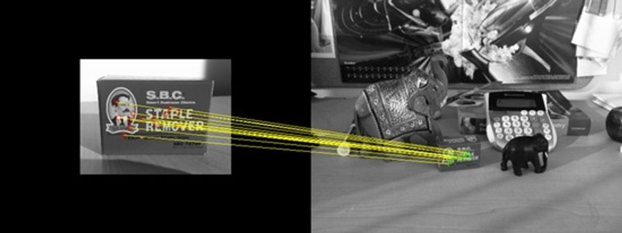 Detecting an object (left) in a cluttered scene (right) using a combination of feature detection, feature extraction, and matching. See example for details.
