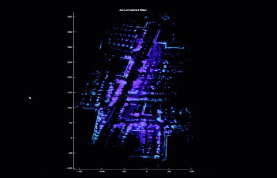 Map created from sequential lidar point cloud data.