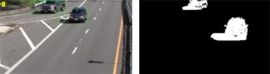 Detección de objetos en movimiento mediante la clasificación de píxeles de la imagen en primer plano (píxeles blancos) y fondo (píxeles negros) con modelos de mezclas gaussianas.