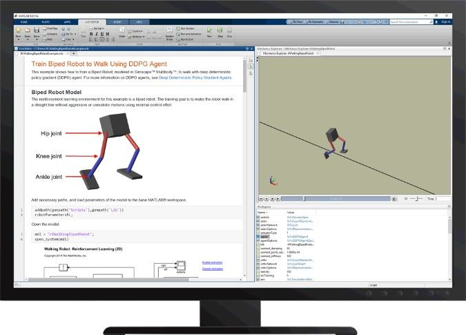 Figura 6. Robot bípedo aprende a caminar con Reinforcement learning Toolbox™.