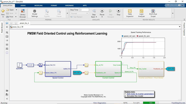 En este vídeo se explica el control de campo orientado de un PMSM mediante reinforcement learning. El agente de reinforcement learning está diseñado y entrenado para reemplazar los controladores PI del lazo de corriente interno de la arquitectura de control de campo orientado.