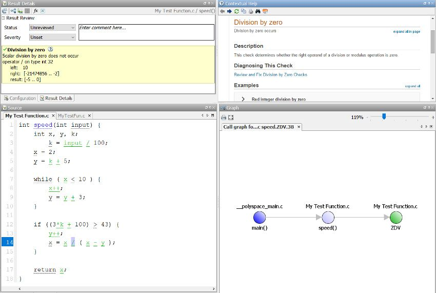Division-by-zero checking using Polyspace Code Prover.