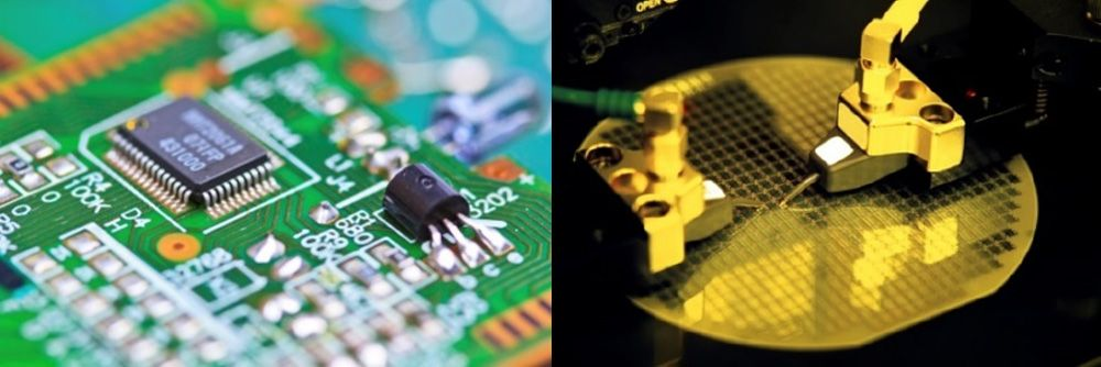 Visual inspection for defect detection in semiconductor manufacturing.