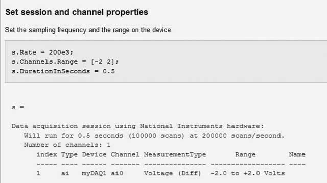 Configuring a date acquisition session using NI myDAQ hardware