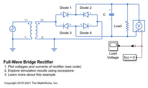 Full-wave Bridge Rectifier - Matlab  U0026 Simulink