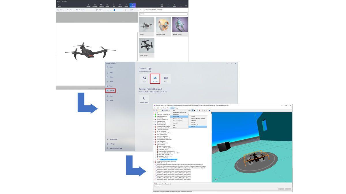 Dron importado desde una librería de Paint 3D, guardado como archivo FBX y cargado en un mundo 3D.
