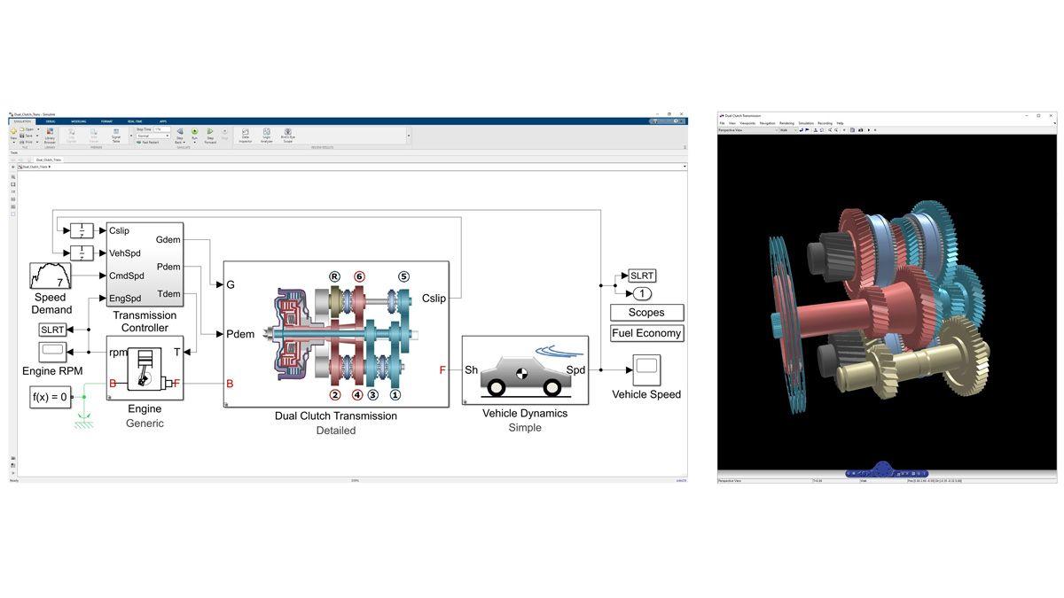 Animación 3D de la dinámica de una transmisión de doble embrague modelada en Simscape Driveline