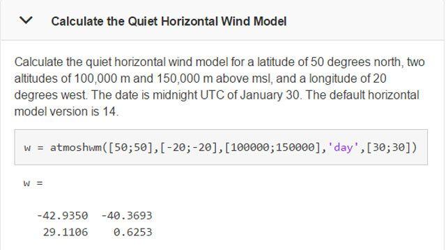 Cálculo de modelos de viento en un momento y una ubicación específicos.