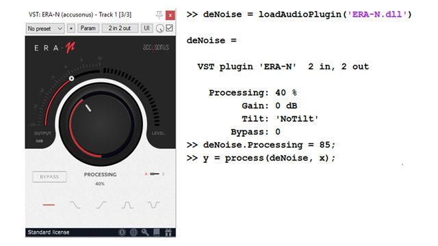 A la izquierda, interfaz de usuario de un complemento de audio comercial para eliminar ruido de audio, con una perilla para establecer el nivel de supresión de ruido. A la derecha, líneas de código que muestran cómo se puede importar ese complemento y utilizarlo de manera programática como objeto de MATLAB.