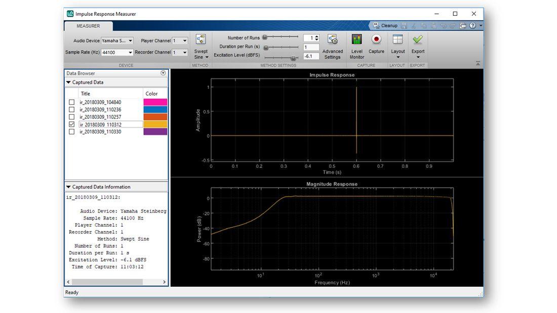 App Impulse Response Measurer que muestra una respuesta estimada en los dominios del tiempo y de la frecuencia, un menú con una lista de otras respuestas a impulsos estimadas disponibles para generar gráficas, y otros controles interactivos de la app.