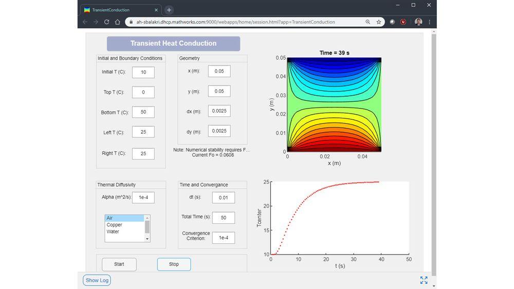 App web de conducción de calor transitorio desarrollada en Windows y ejecutada en un servidor Linux.