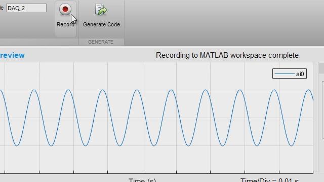 La app Analog Input Recorder lo ayudará a comenzar a utilizar rápidamente Data Acquisition Toolbox. Puede configurar interactivamente una sesión, adquirir datos directamente en el espacio de trabajo de MATLAB y generar código MATLAB para automatizar su adquisición en el futuro.