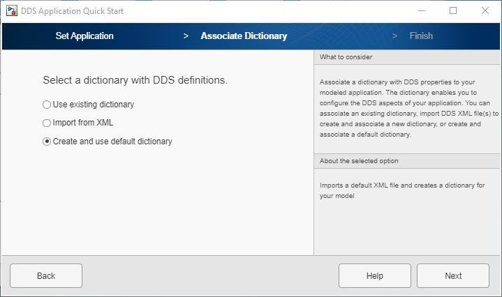 Interfaz de usuario de la app DDS Application Quick Start.