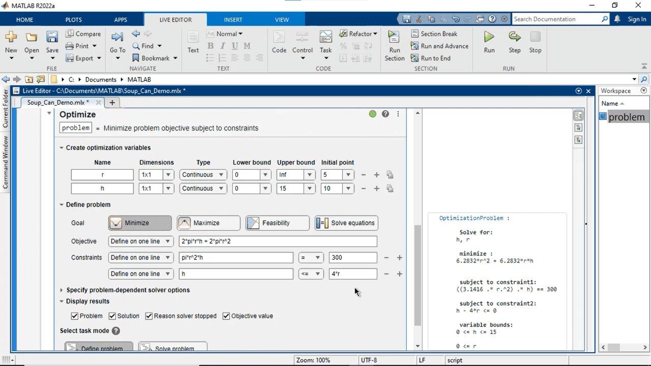Cree y resuelva problemas de optimización de forma interactiva con MATLAB, Optimization Toolbox o Global Optimization Toolbox mediante una interfaz visual. Especifique el objetivo y las restricciones, seleccione los solvers y configure las opciones.