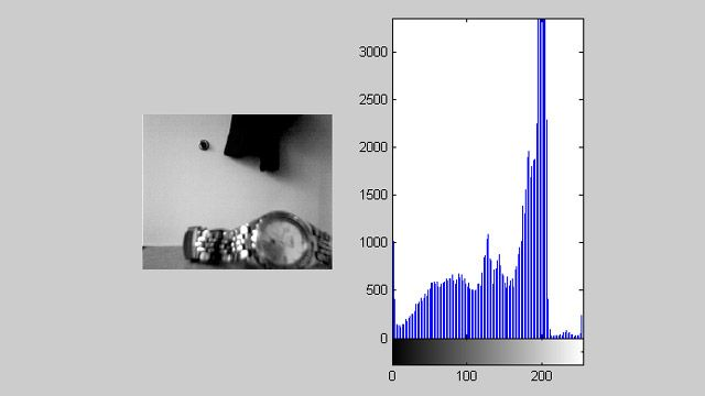 Uso de Image Acquisition Toolbox junto con Image Processing Toolbox para mostrar una señal de vídeo con un histograma en tiempo real.