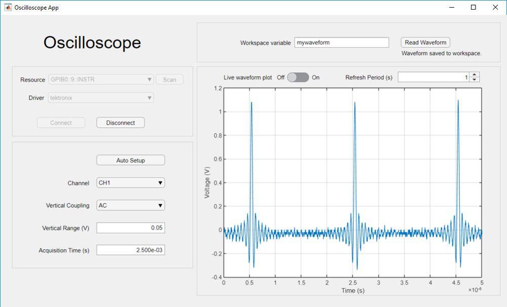 App para adquirir datos y ajustar la configuración de scope.