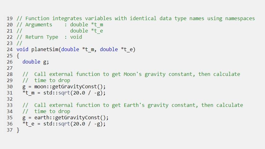 Código generado que integra variables con nombres de tipos de datos idénticos utilizando espacios de nombres.