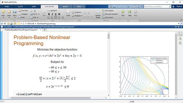 Exprese y resuelva un problema de optimización no lineal con el enfoque basado en problemas de Optimization Toolbox. Utilice funciones no lineales tanto en la función objetivo como en las restricciones. Resuelva con un solver seleccionado automáticamente.
