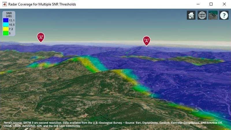 Mapa terrestre que muestra el área de cobertura combinada de dos sistemas de radar.