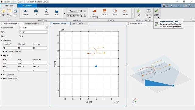 Diseño interactivo de escenarios de seguimiento para generar código de MATLAB y probar algoritmos de seguimiento.