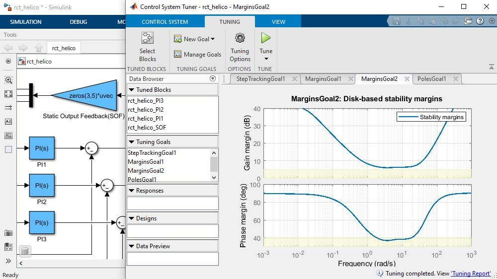 Control System Tuner app showing achieved stability margin plots.