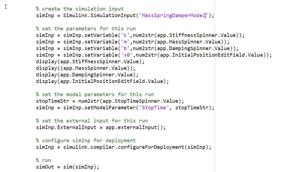 Utilice el objeto SimulationInput para definir las entradas y los parámetros de la simulación.