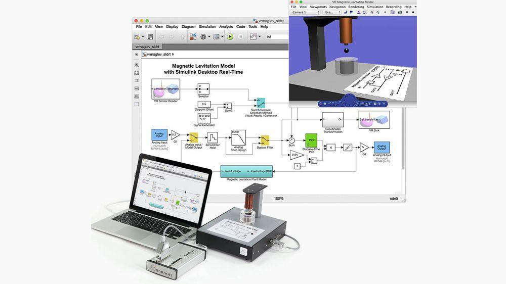 Un experimento de control de levitación magnética. El modelo interactúa con hardware externo mediante bloques Analog Input y Analog Output.