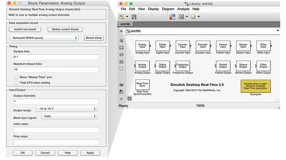 Librería de bloques de Simulink Desktop Real-Time.