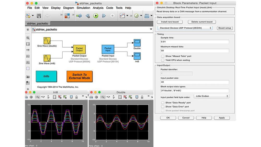 Configuración de los parámetros de los bloques Stream Input y Stream Output para un modelo.