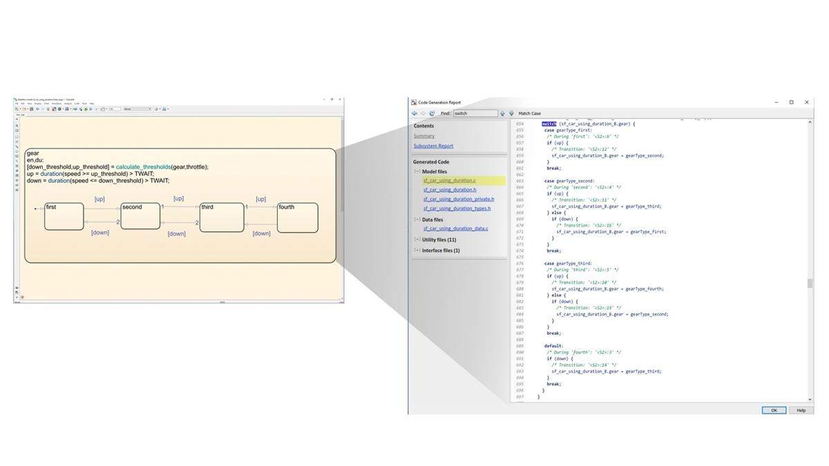 Generación de código para implementar lógica de Stateflow.