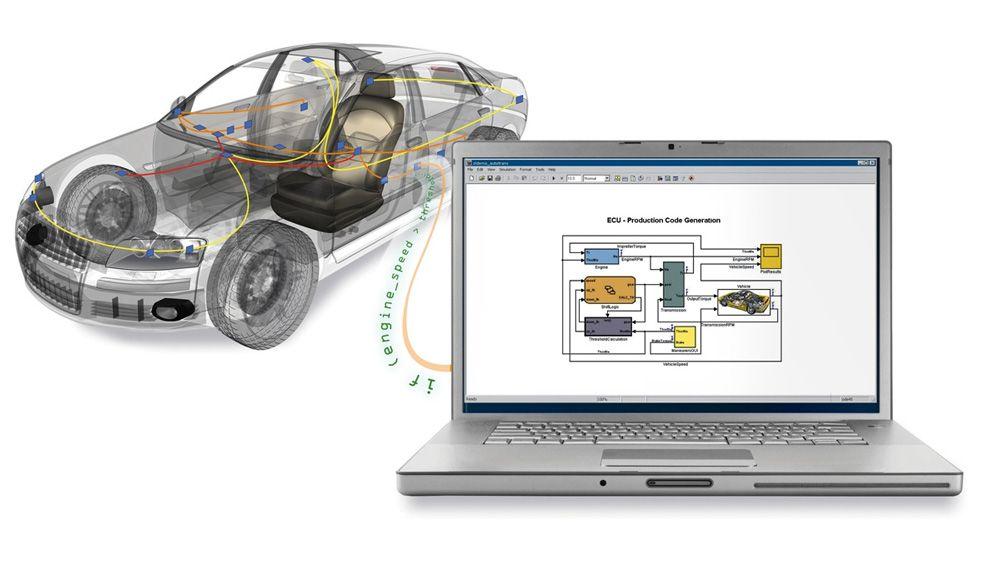 Automóvil conectado a un equipo portátil utilizado para acceder a los datos de bus del vehículo desde MATLAB y Simulink.
