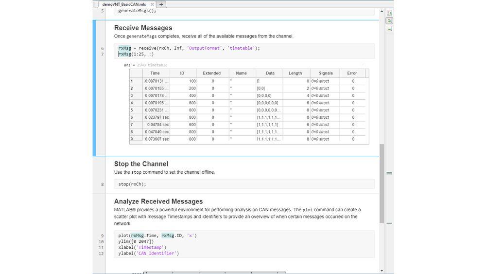 Código MATLAB para recibir mensajes CAN y sus respectivas señales en formato de cronograma.