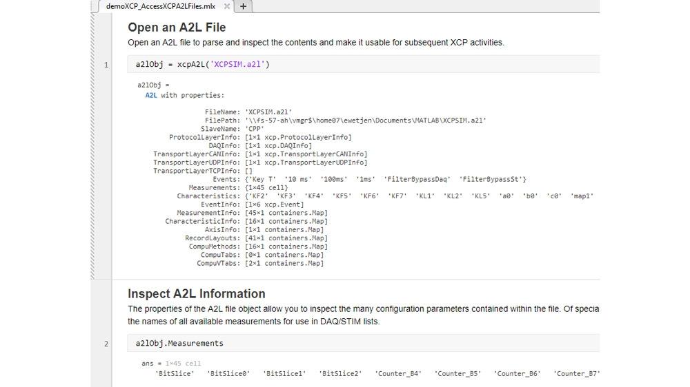 Ejemplo de código que muestra cómo acceder a la información almacenada en archivos A2L para usar con conexiones XCP. Utiliza un simulador secundario XCP ofrecido gratuitamente por Vector y canales CAN virtuales de Vector.