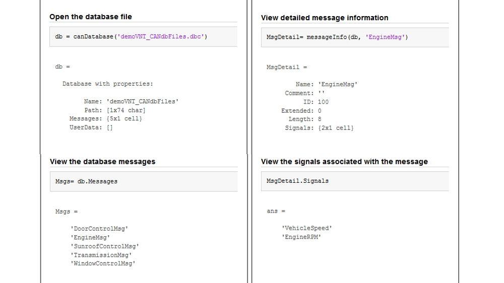 Ejemplos de código que muestran cómo abrir un archivo de base de datos CAN para ver mensajes y señales.