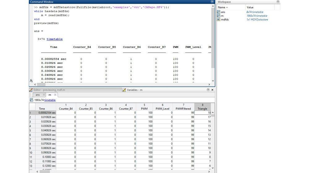 Interfaz de MATLAB para inspeccionar archivos MDF con la función de vista previa y el editor de variables.