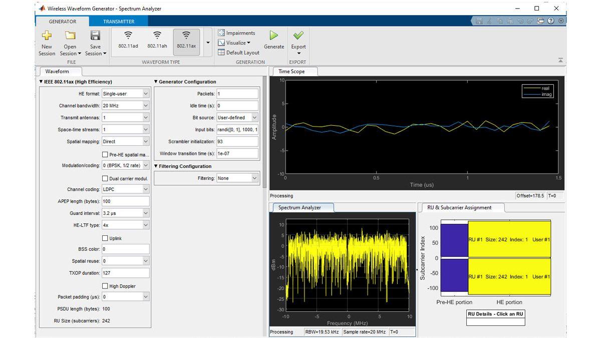 Generación de formas de onda 802.11ax mediante la app Wireless Waveform Generator.