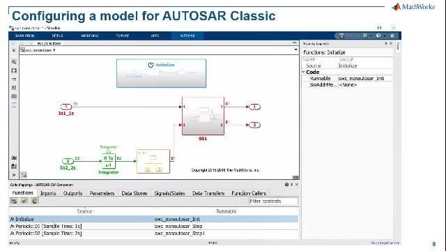 Obtenga información sobre el soporte avanzado de Simulink para las funcionalidades de AUTOSAR, modelado de aplicaciones de software de AUTOSAR Classic y Adaptive, creación de arquitecturas de software de AUTOSAR, simulación de composiciones y ECU de AUTOSAR, y generación de código de producción C/ C++.