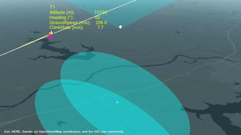 Sistema de radar realizando el seguimiento de una aeronave en ruta.