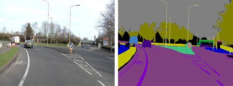 Segmentación semántica - Escena de carretera para el etiquetado