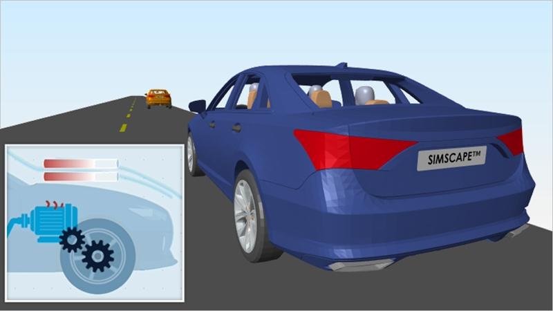 Modele un sistema de accionamiento mecatrónico con componentes eléctricos y mecánicos en Simscape.