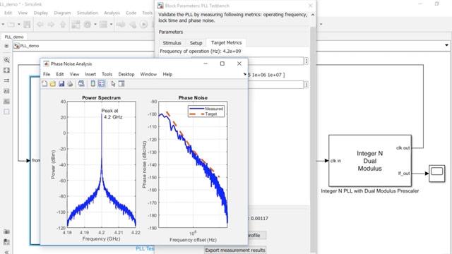 Utilice Mixed-Signal Blockset para modelar un PLL de número entero listo para usar comercial con prescaler de módulo dual que funcione en el entorno de los 4GHz. Verifique el rendimiento del PLL, incluido el ruido de fase, el tiempo de cierre y la frecuencia de funcionamiento.