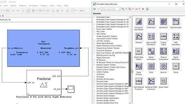 Diseñe y simule sistemas analógicos y de señal mixta tales como ADCs y PLLs con Mixed-Signal Blockset.