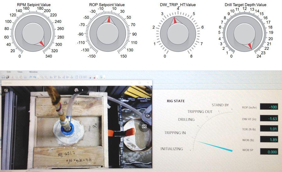 Visualización del estado de perforación creada en Simulink Real-Time Explorer y controles manuales creados en Simulink.