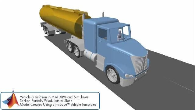 Simulación de sloshing lateral en un remolque cisterna.